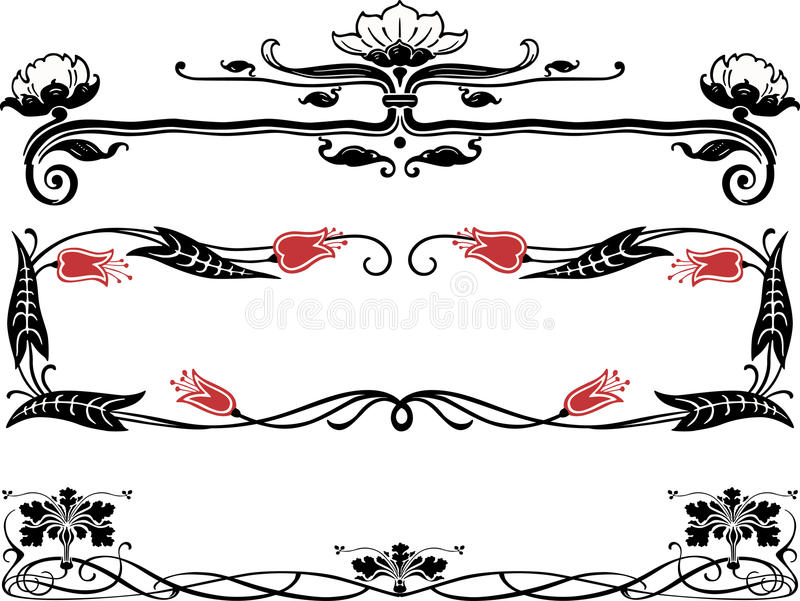 Art nouveau borders vector illustration