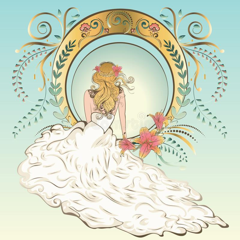 Art nouveau bride stock illustrationer