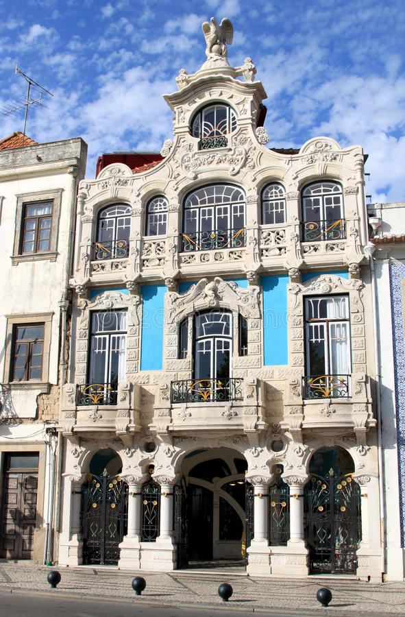 Art nouveau building in Aveiro, Portugal. One of the beautiful buildings in Art Nouveau style along a canal in the Portuguese town of Aveiro, sometimes called stock images