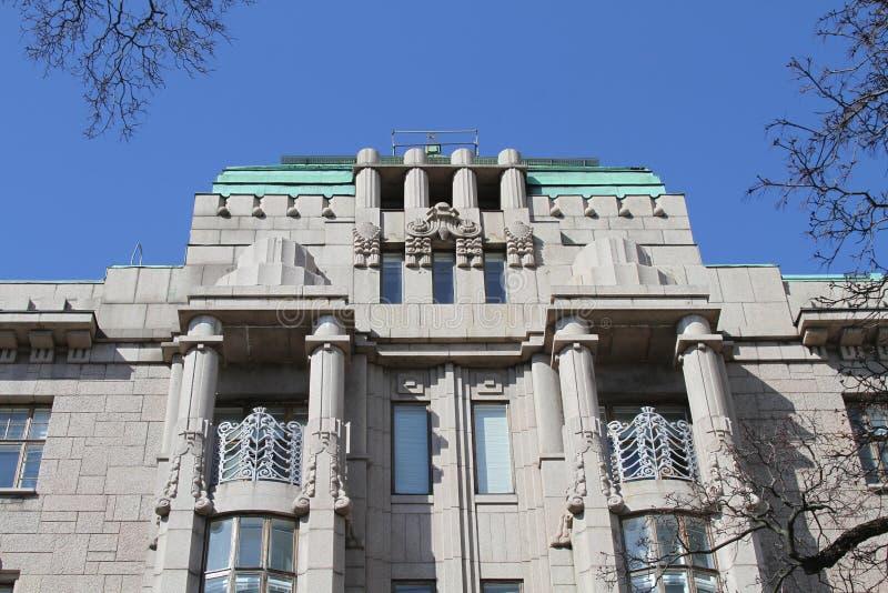 Finland, Helsinki Art Nouveau building/details stock photos