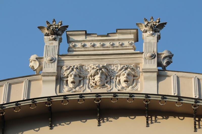 Art Nouveau building facade fragment. Alberta 4 street Riga Latvia royalty free stock images