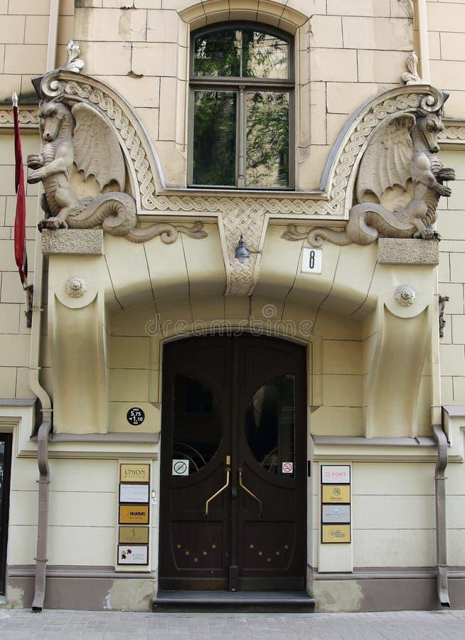 Art Nouveau building facade fragment Antonijas 8 street Riga. 03 .may 2018 Riga, Latvia. Art Nouveau building facade fragment Antonijas 8 street Riga Latvia stock photos
