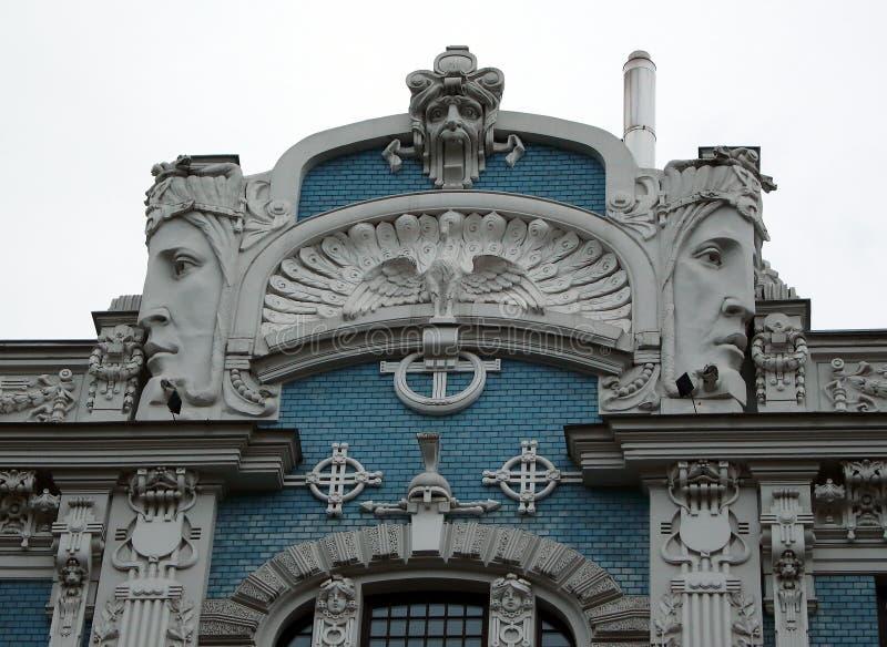 Art Nouveau byggnad i gatan Riga Lettland för fasad 10b Elizabetes royaltyfri foto