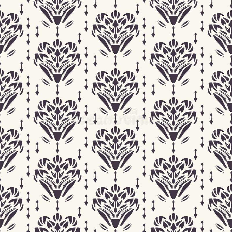Art Nouveau-de stijl van Jugendstil van het bloemmotief Vector naadloos patroon Retro de textielmonster van het arabesquedamast D royalty-vrije illustratie