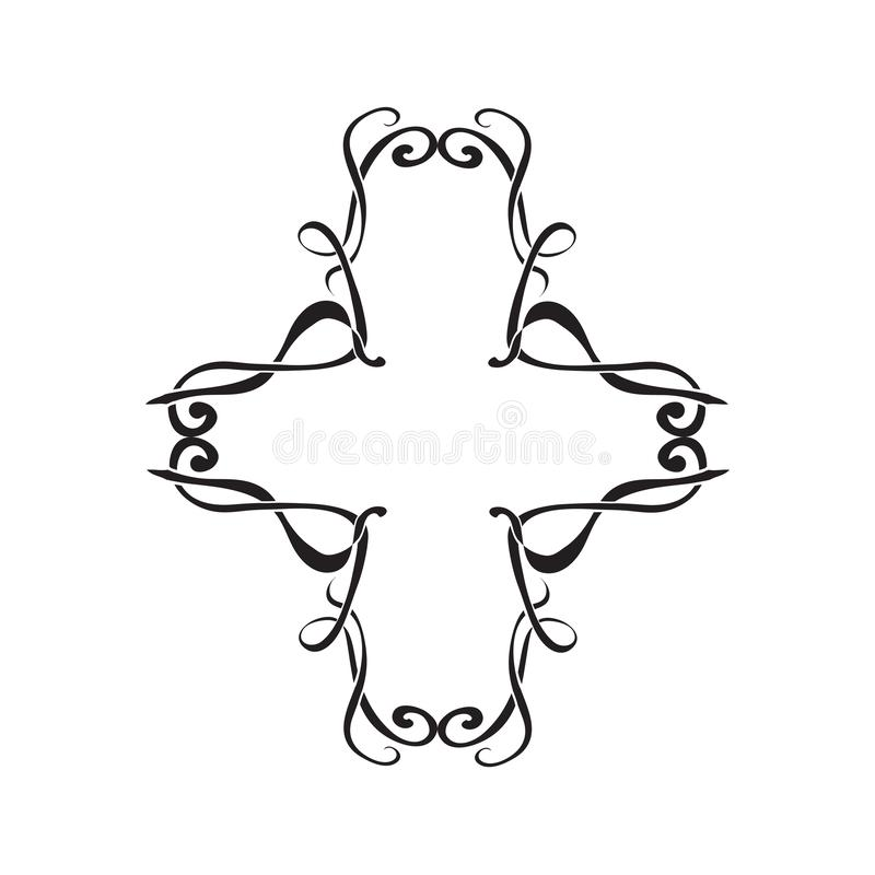 Art Nouveau decorative monochrome cross shape frame with text place. Isolated royalty free illustration