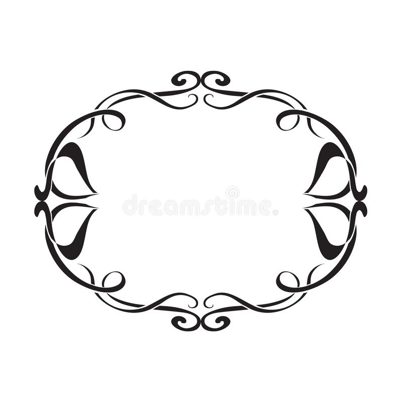 Art Nouveau decorative monochrome oval frame with text place. On whie royalty free illustration