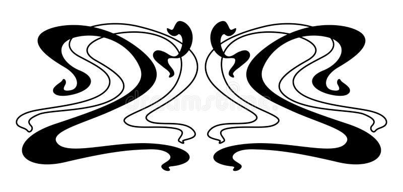 Art Nouveau-dekorativ del vektor illustrationer