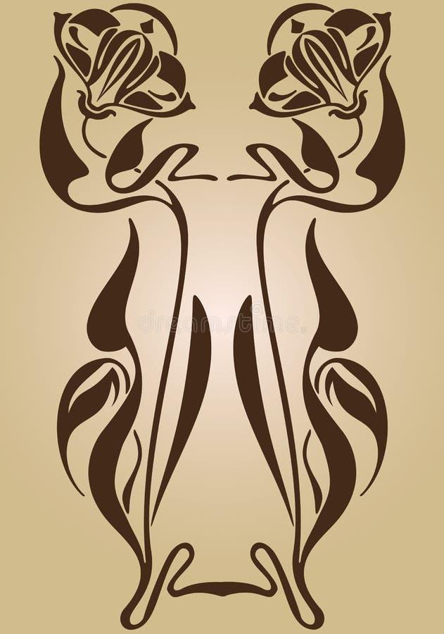 Art Nouveau design av ramen vektor illustrationer