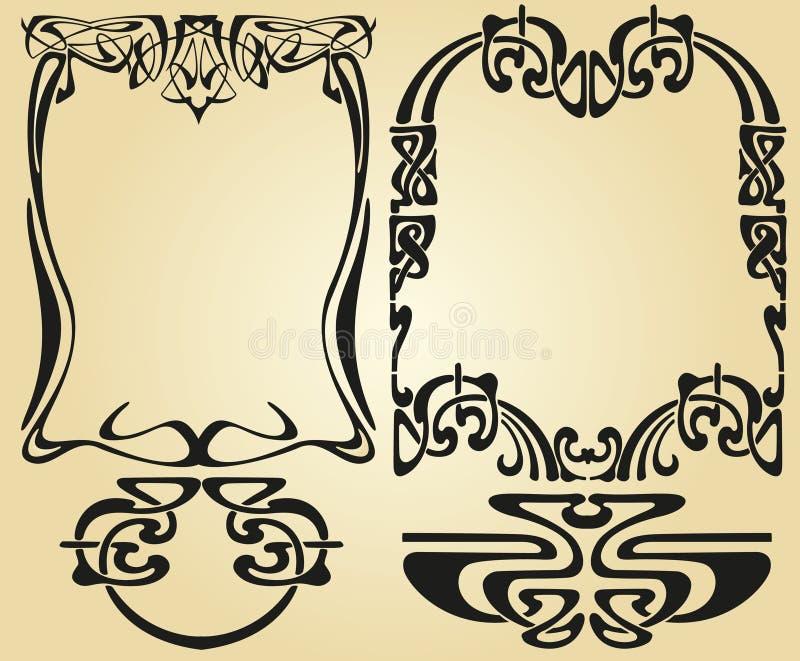 Art Nouveau-Entwurfsrahmen stock abbildung