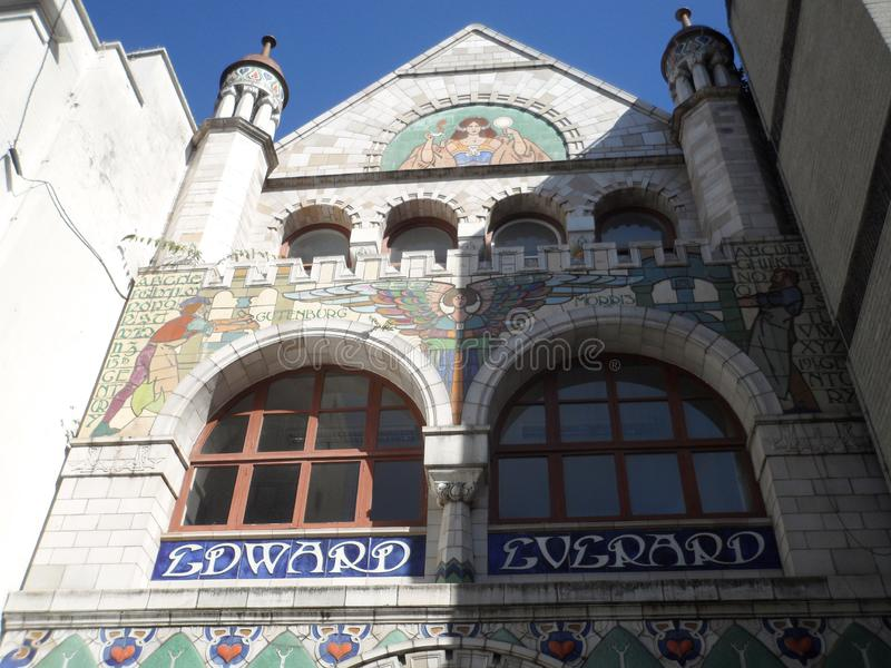 Art Nouveau Facade of Old Print Works Building stock photo