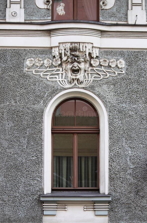 Art Nouveau-Fenster in Riga stockfoto