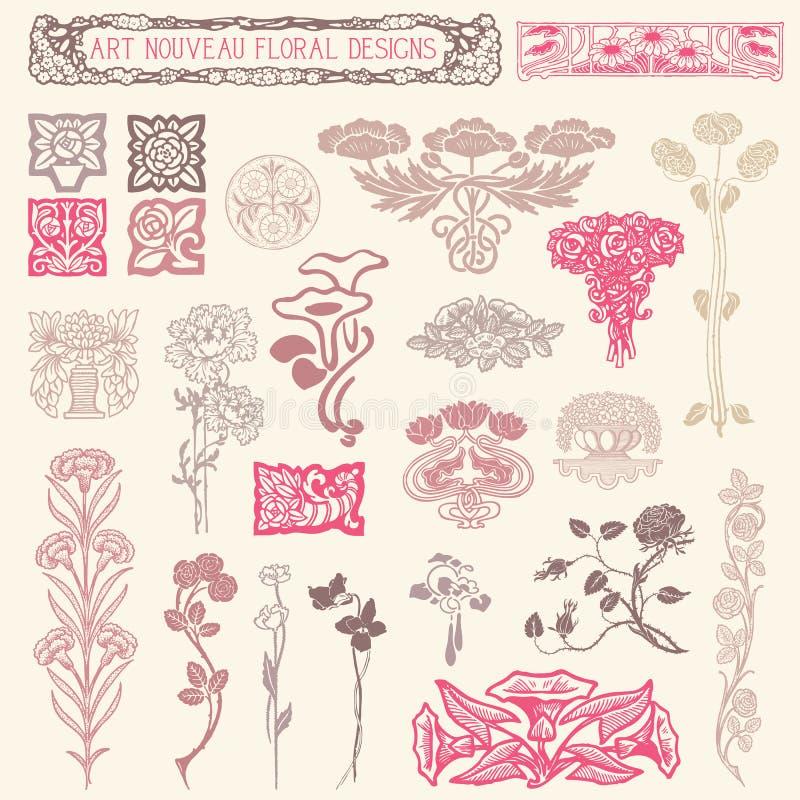 Art Nouveau Floral Ornaments. Set of vintage floral ornaments