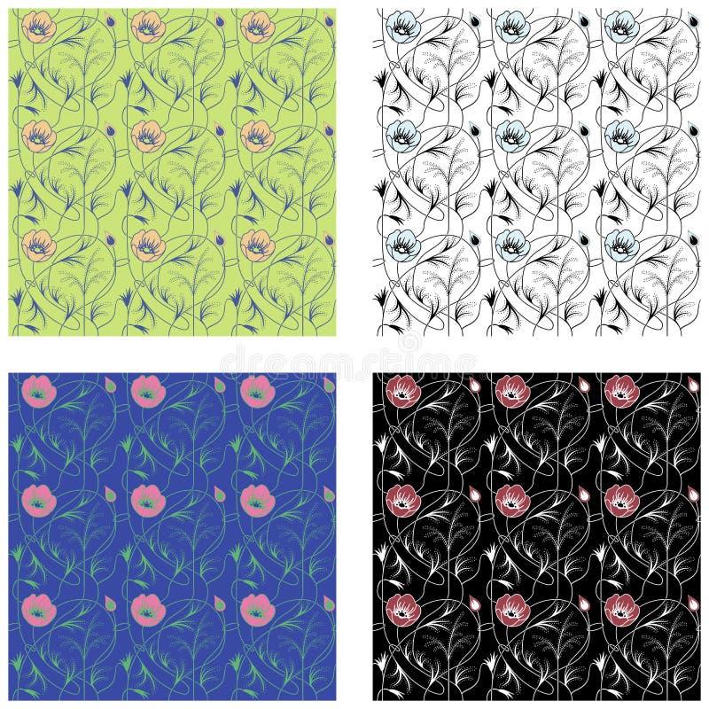 Art Nouveau Flowers Pattern ilustração stock