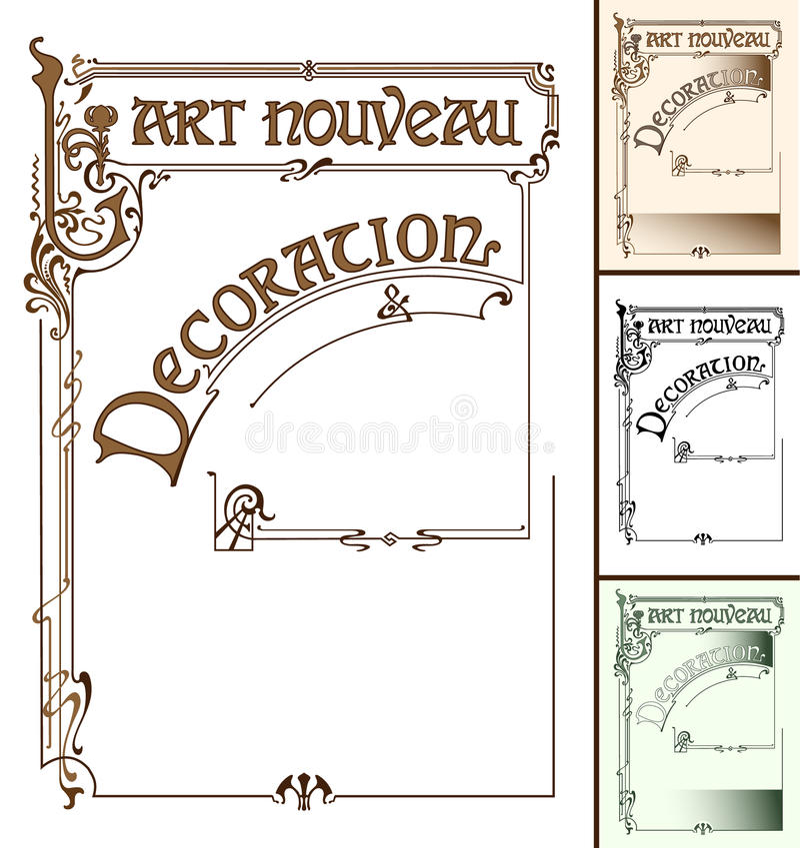 Art Nouveau frame decoration vector illustration
