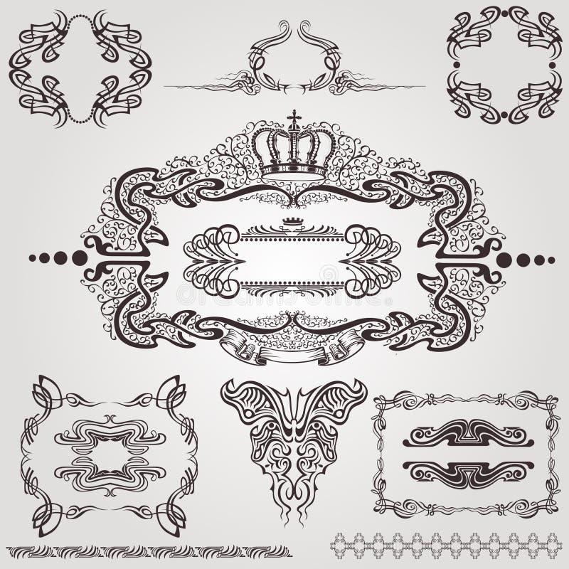 Art nouveau frame label element royalty free illustration