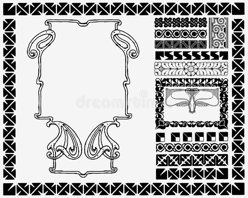 art nouveau frame and motifs royalty free stock photos. Black Bedroom Furniture Sets. Home Design Ideas