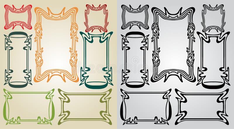 Art nouveau frames vector illustration