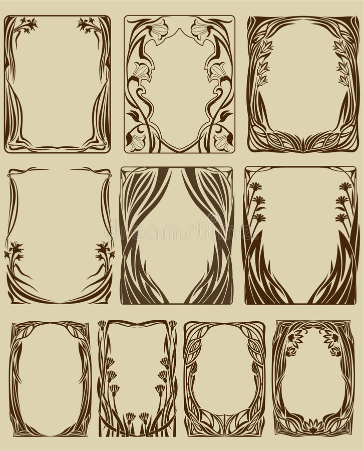 Art Nouveau frames stock vector. Illustration of illustrations - 8080767