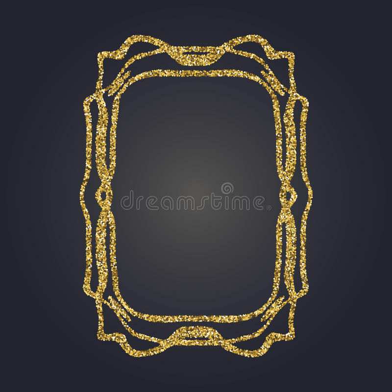 Art Nouveau guld blänker den dekorativa rektangelvektorramen för design Art Deco Style Border stock illustrationer
