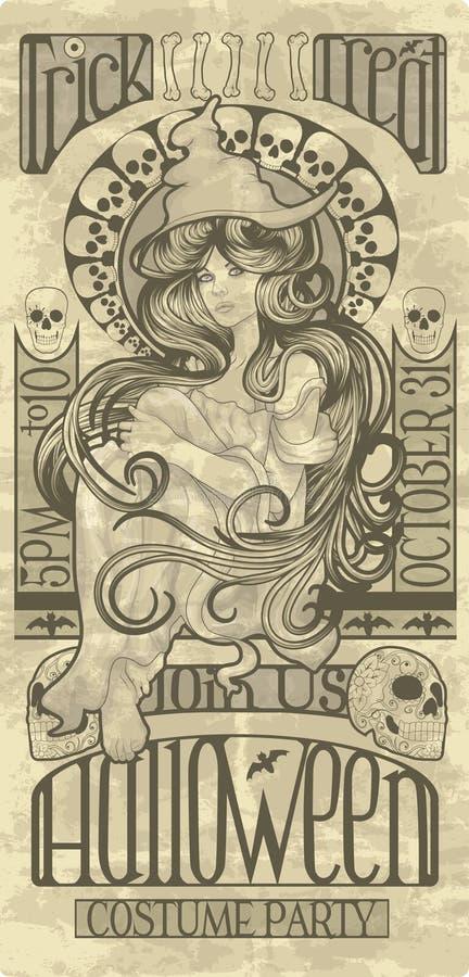Art Nouveau Halloween-Hexendesign stock abbildung