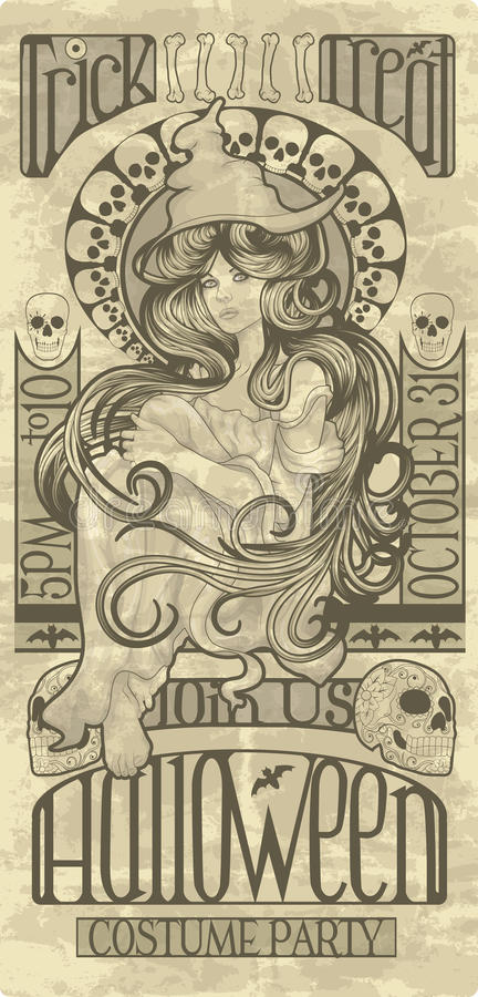 Art Nouveau Halloween witch design. Beautiful witch design in an art nouveau style for Halloween stock illustration