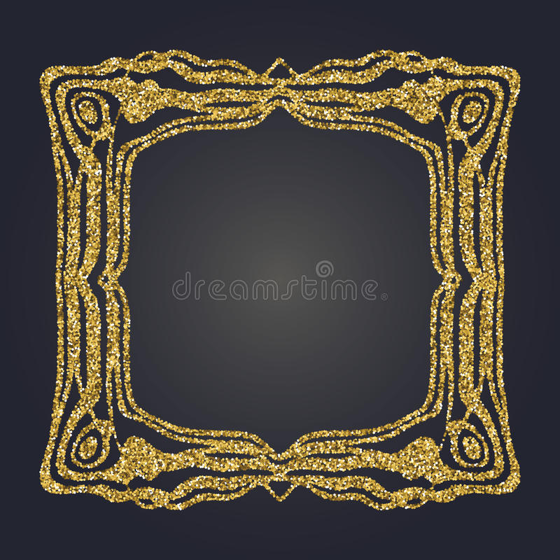 Art Nouveau-het goud schittert decoratief rechthoek vectorkader voor ontwerp Art Deco Style Border royalty-vrije illustratie