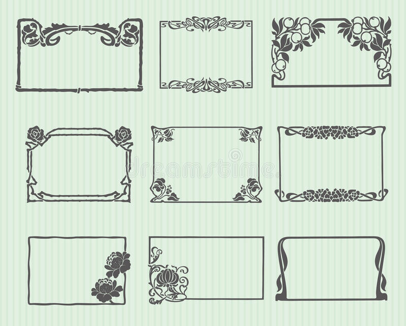 Art Nouveau Horizontal Frame Set vector illustration