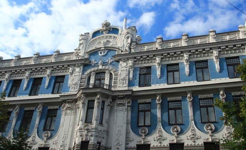 Art Nouveau i Riga arkivbild