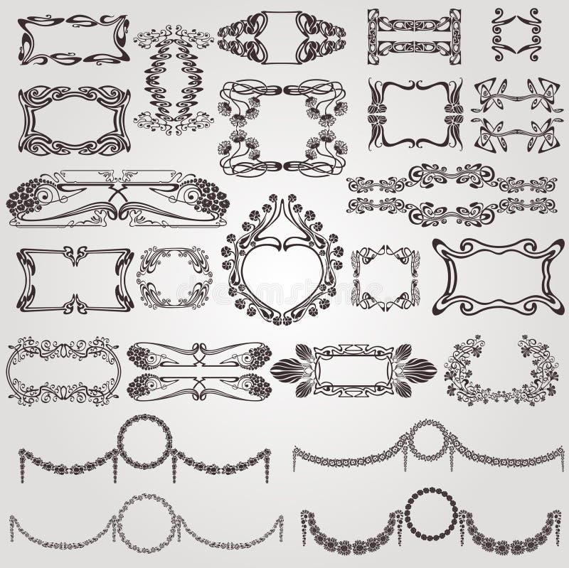 Art nouveau label modern banner element stock illustration