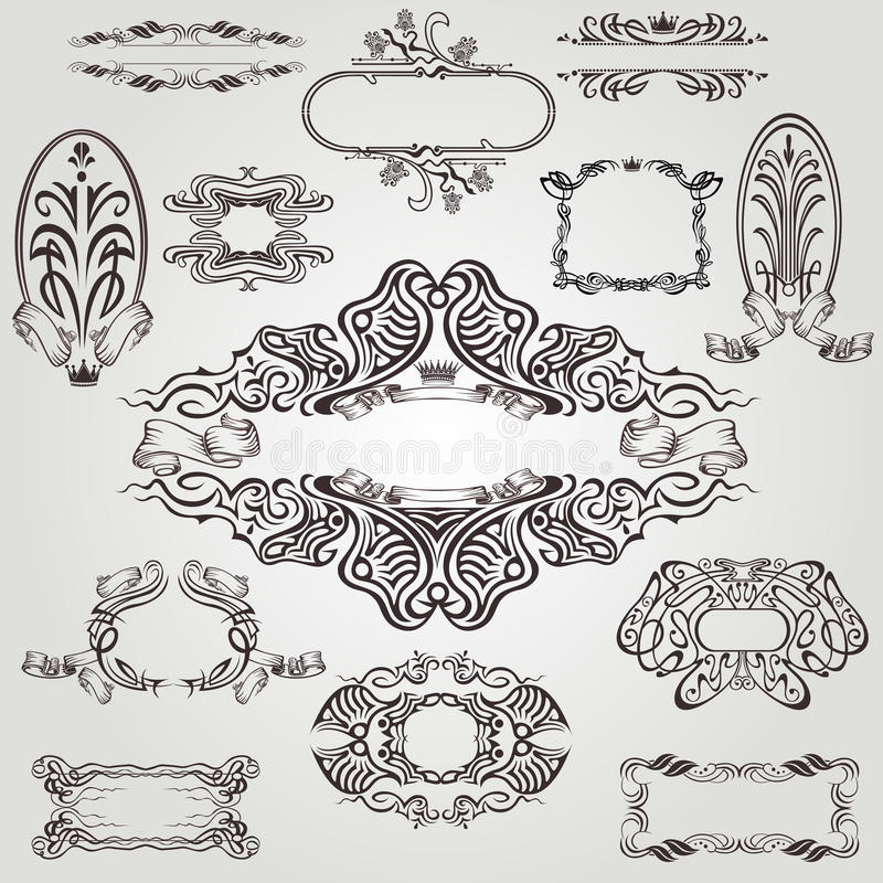 Art nouveau label old banner element stock illustration
