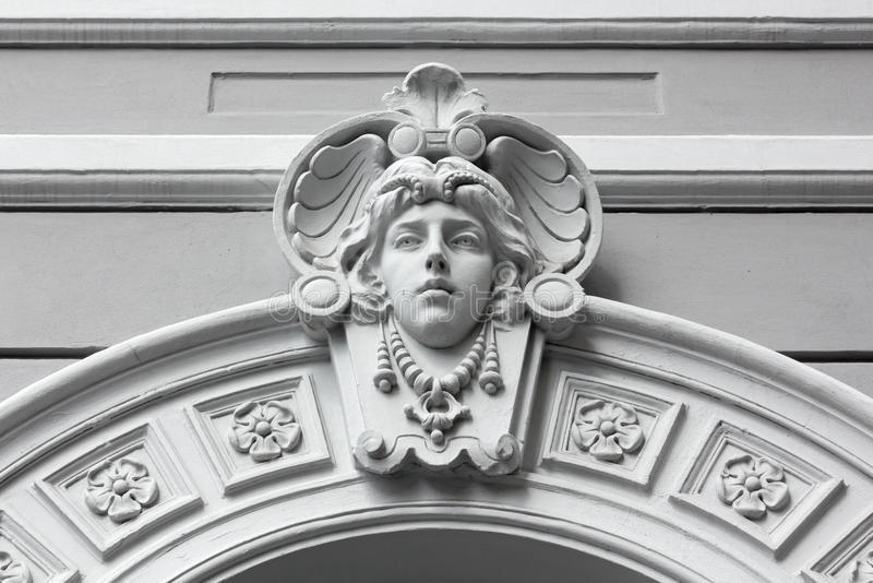 Art Nouveau Marble Sculpture in Trieste royalty free stock image