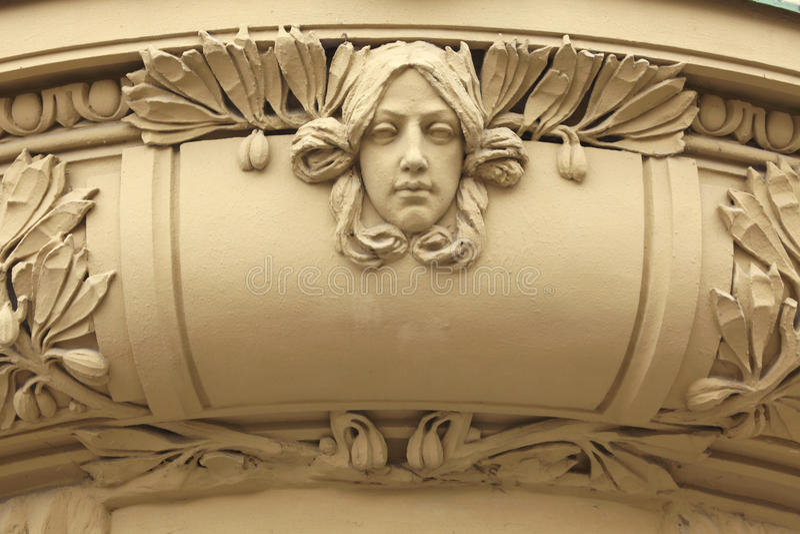 Art Nouveau mascaron in Hradec Kralove, Czech Republic. Art Nouveau mascaron in Hradec Kralove, East Bohemia, Czech Republic royalty free stock photography