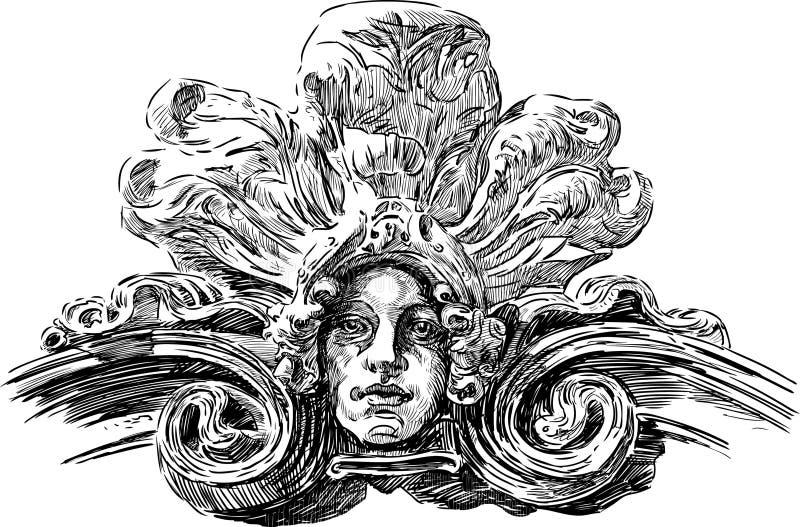 Art Nouveau maskering vektor illustrationer