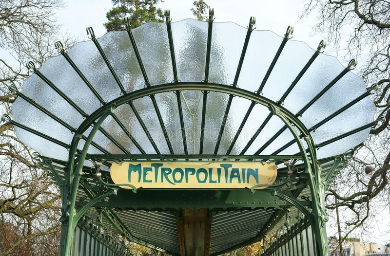 Art Nouveau Metro Entrance Paris Editorial Photo - Image of style ...