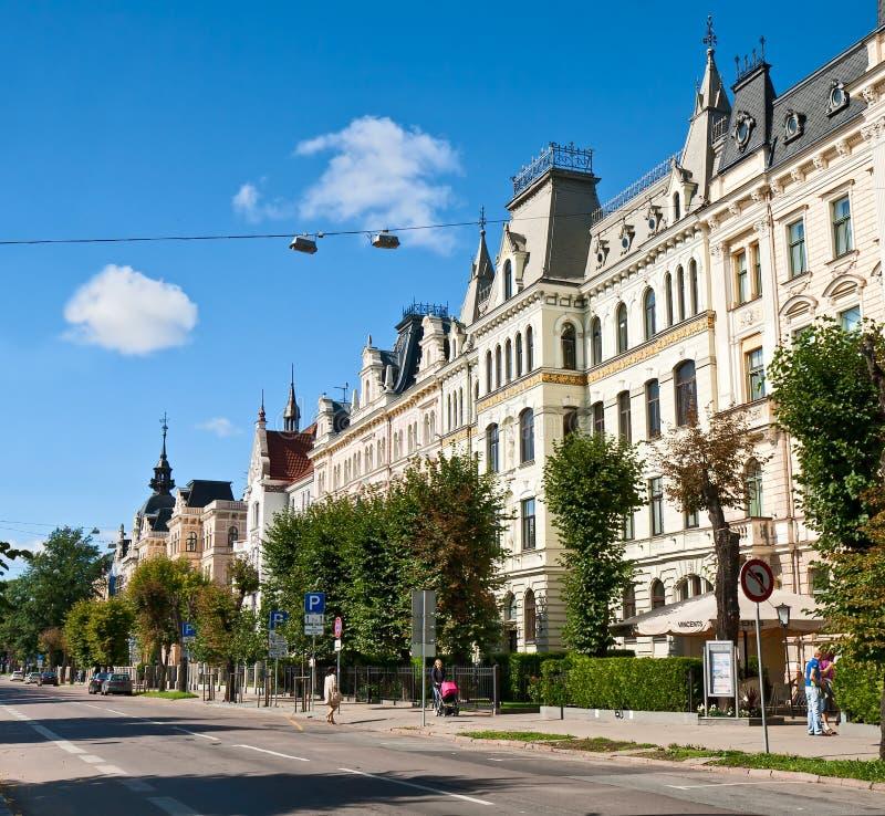 Art Nouveau område, Riga royaltyfri foto