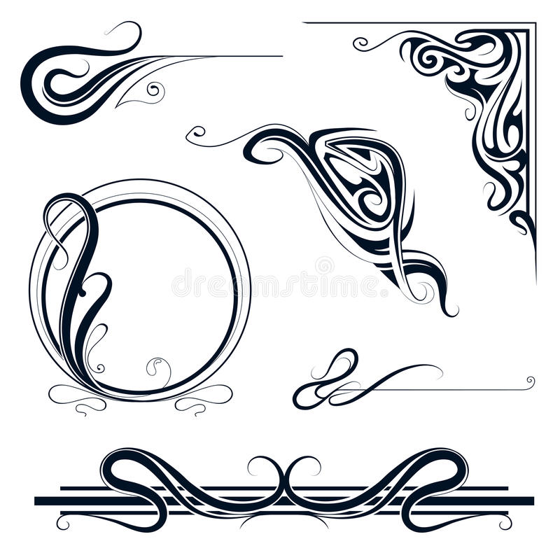art nouveau ornament set stock vector illustration of drawing 49781541. Black Bedroom Furniture Sets. Home Design Ideas