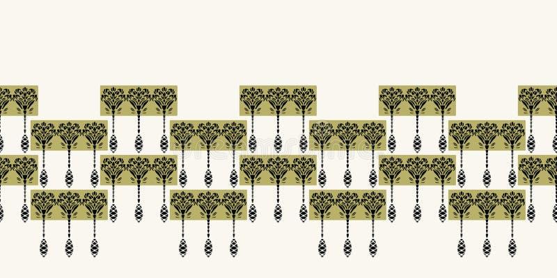 Art Nouveau ornamental flower motif border. Jugendstil style ribbon trim. Retro floral damask textile tape. Decorative arts crafts vector illustration