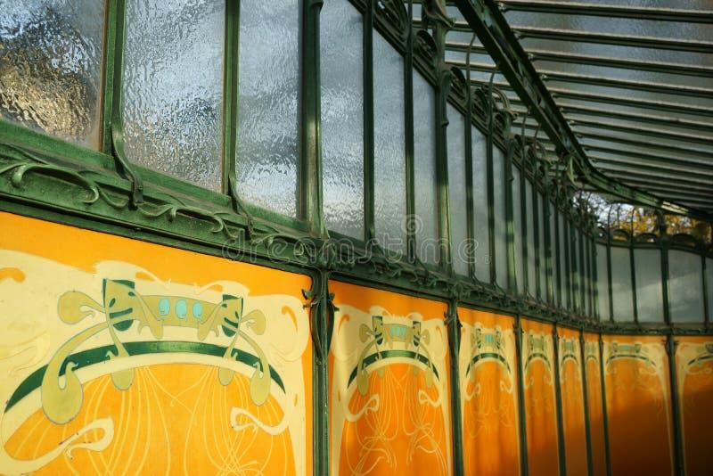 Art Nouveau Paris Metropolitain Subway Entrance. Detail of the entrance of Porte Dauphine metro station. Art Nouveau style. Avenue Foch, 16th arrondissement of stock photography