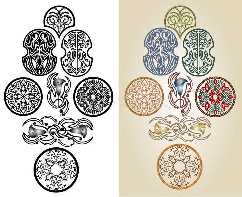 Art Nouveau Pattern Collection Royalty Free Stock Photos