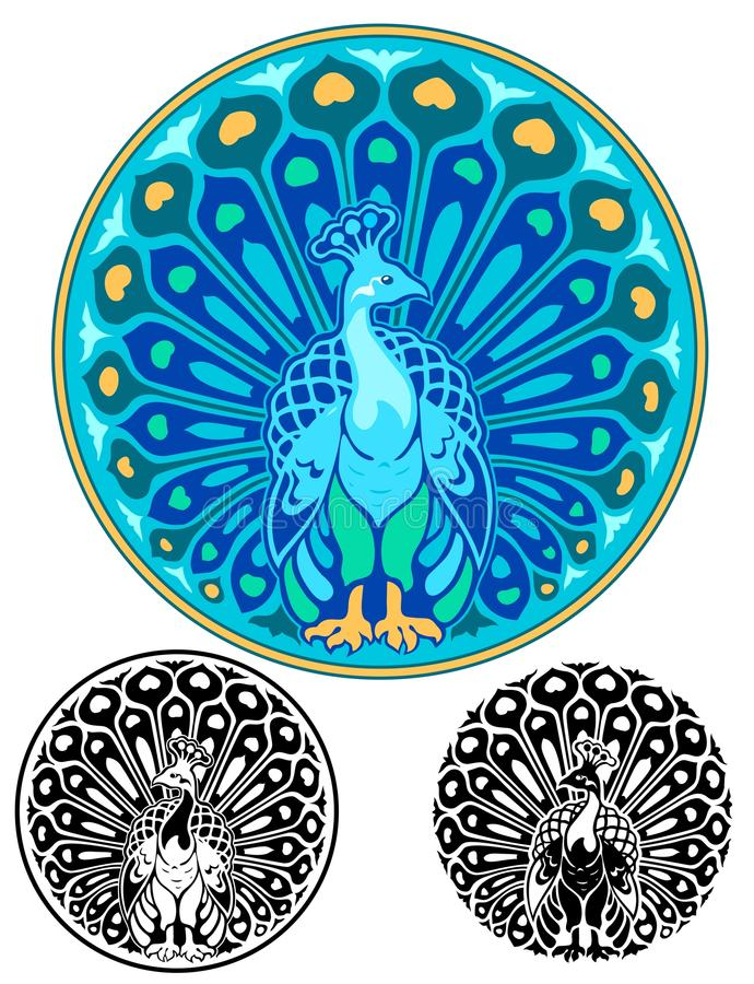 Art Nouveau Peacock-medaillon royalty-vrije illustratie