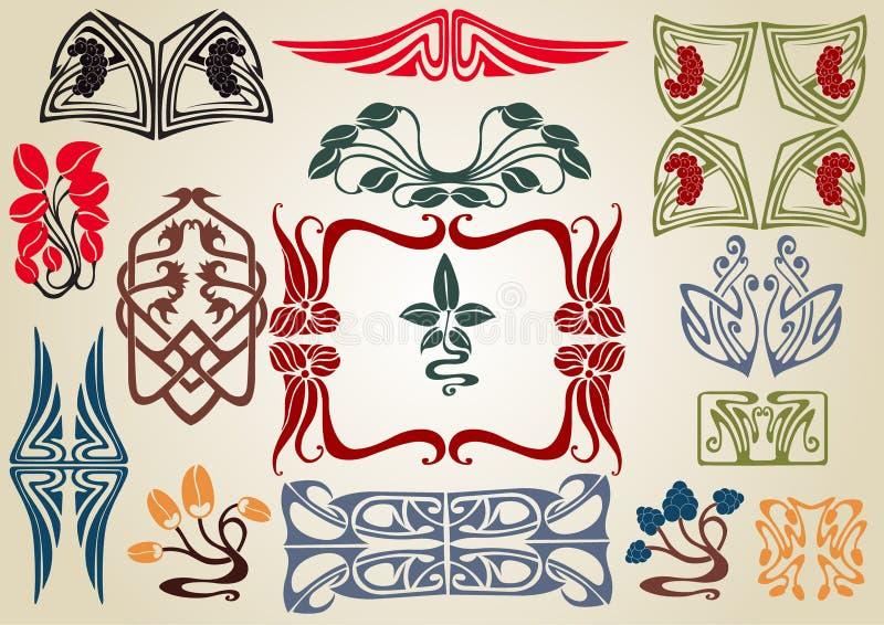 Art nouveau plant collection vector illustration