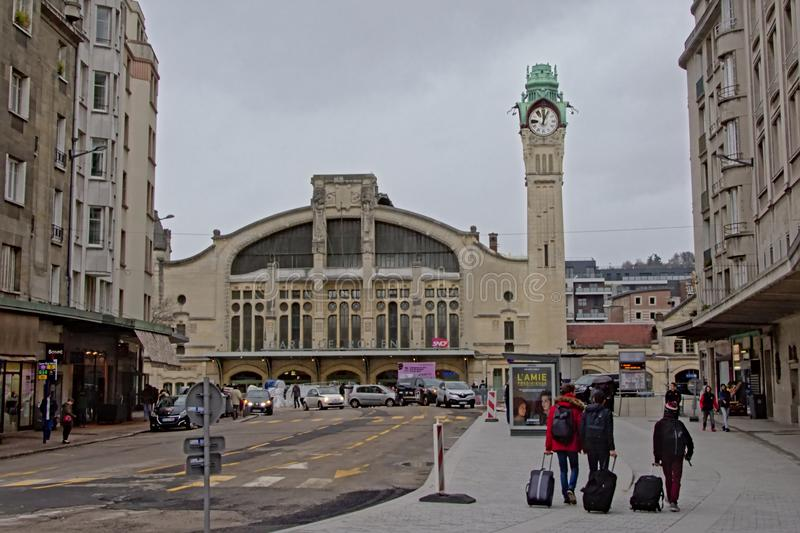 Art nouveau railway station with clock tower in Rouen. Normandy, France stock images