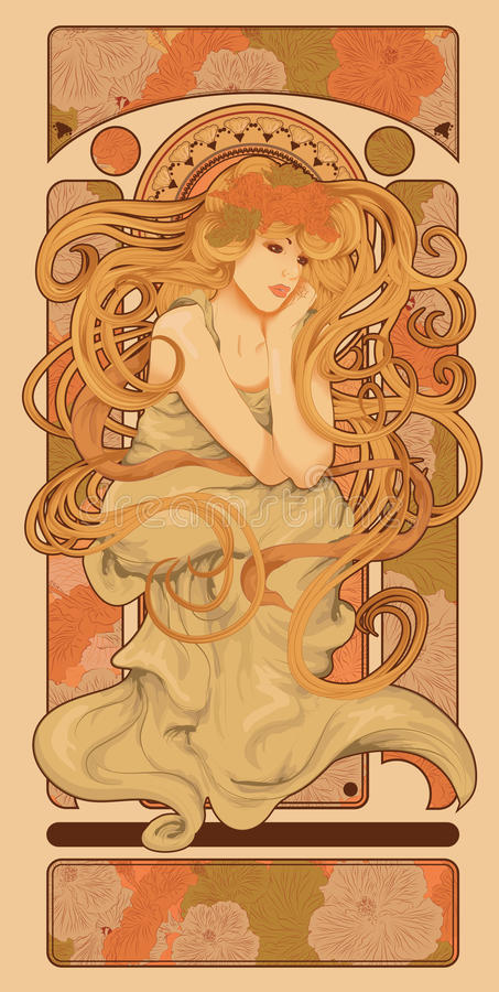 Art Nouveau redete Frau mit dem langen Haar an lizenzfreie abbildung