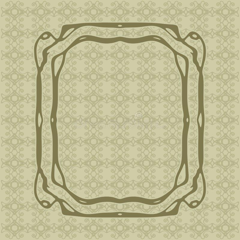 Art Nouveau släta linjer dekorativ rektangelvektorram för design Art Deco Style Border royaltyfri illustrationer