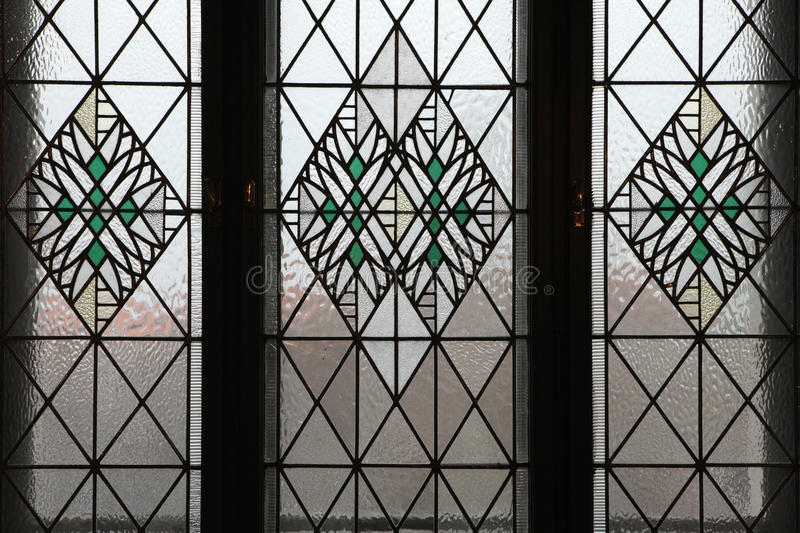 Art Nouveau stained glass window in Hradec Kralove. Art Nouveau stained glass window in Hradec Kralove, Czech Republic royalty free stock photography