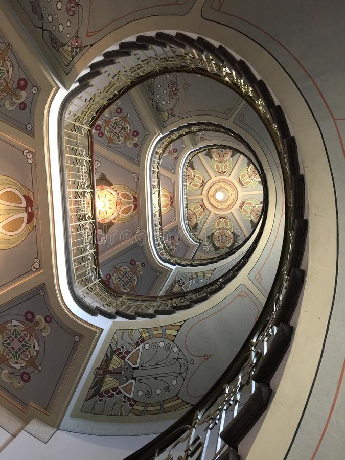 Art Nouveau staircase. Decorative art nouveau staircase in Riga, Latvia royalty free stock images