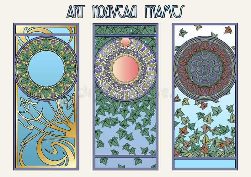 Art Nouveau Styel Decorative Frames lizenzfreie abbildung