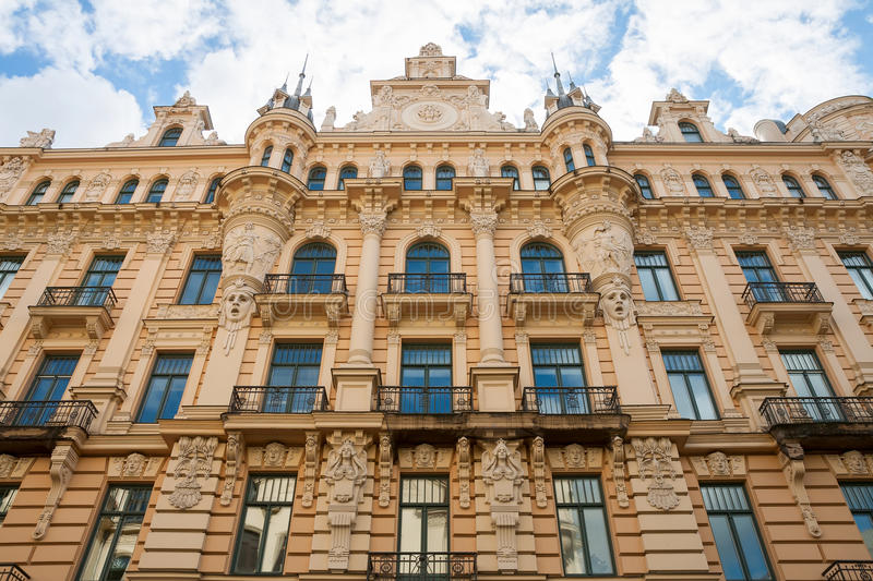 Art Nouveau style in Riga. Art nouveau district in Riga, Latvia royalty free stock photography