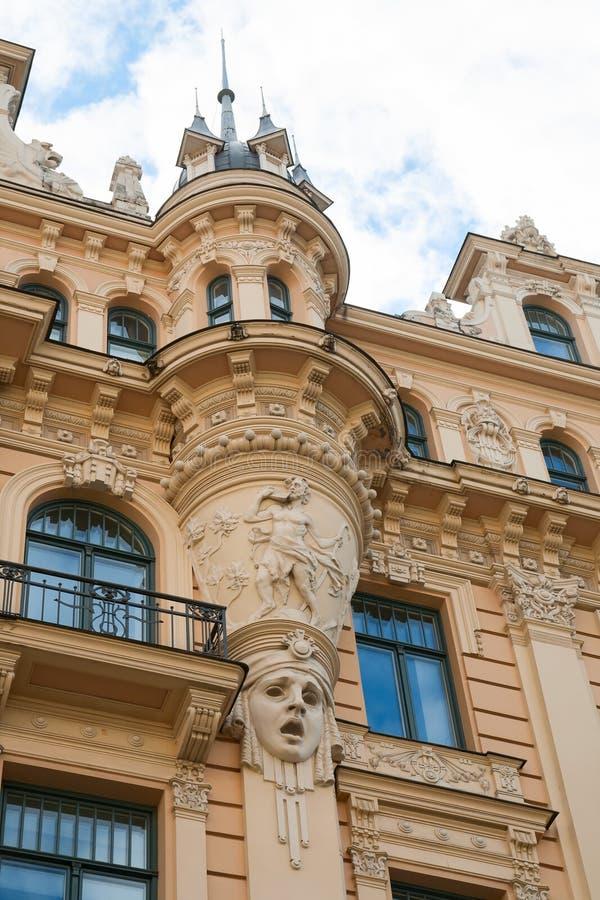 Art Nouveau style, Riga. Fragment of Art Nouveau style (Jugenstil) on a building, Riga, Latvia stock photo