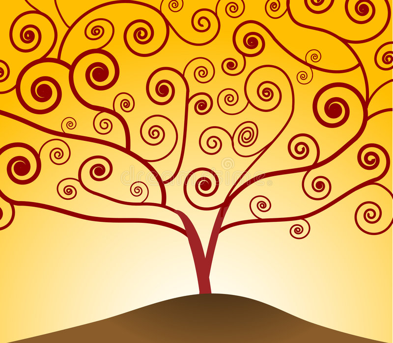 Art Nouveau Tree stock illustration